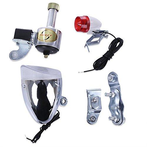 Naisicatar Headlight Set für Fahrrad, ohne Batterien, für Sicherheit, Dynamo Light Rear Headlight, silberfarben, Rot