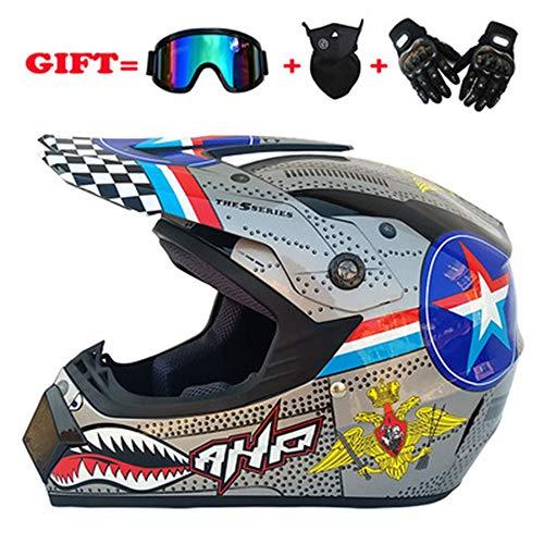 YYCC-helmet Vollständige Abdeckung von Motocross-Helmen - Full-Face-Belüftungsöffnungen für Männer und Frauen für einstellbare Verschleißfestigkeit,S