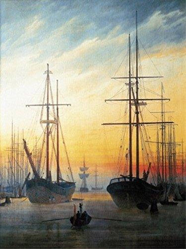 1art1 51067 Caspar David Friedrich - Ansicht Eines Hafens, 1815-16 Poster Kunstdruck 80 x 60 cm