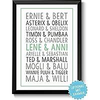 DU & ICH - Beste Freunde - Bild für Freunde Geschwister Paare – Rahmen optional – Geschenk Valentinstag Geburtstag Jahrestag Hochzeitstag Hochzeit
