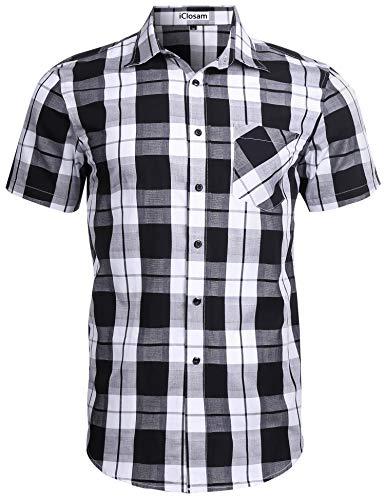 iClosam Camisa de Cuadros para Hombre Suelto Blusa de Manga Corta de Algodón Camisa Casual con Botón y Bolsillo (Blanco+Negro, L)
