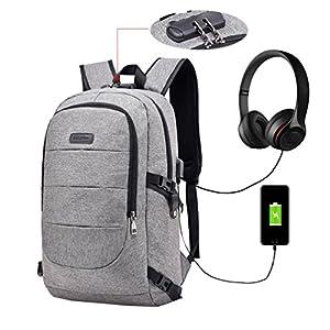Vbiger Bolsa para portátil de Lona Bolsas antirrobo para Escuela Se Adapta a la computadora portátil de 14 » con Bloqueo codificado y función de Carga USB (Negro1)