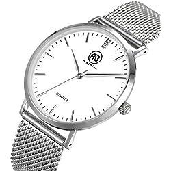 AIBI Wasserdicht Herren-Armbanduhr Analog Quarz Mesh Silber/Weiss AB50803/1