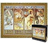 JXXU Four Seasons di Alphonse Maria Mucha 3000 Pezzo di Puzzle for Adulti Bambini