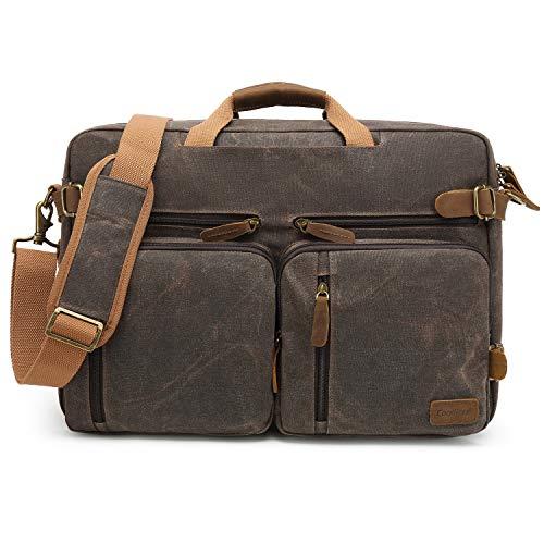 CoolBell Herren Messenger Bag Umhängetasche Aktentasche umwandelbar Reiserucksack Laptoptasche 17,3 Zoll Multifunctional Schultertasche/Handtasche für Männer, wasserdicht Wachsöl Canvas Braun -