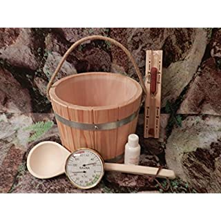 Sauna Set of 6, from Certified Larch Wood Sauna Bucket with Plastic Insert, Hemp Rope, Sauna Infusion Hourglass Ladle, Thermometer/Hygrometer, Aufgußöl,