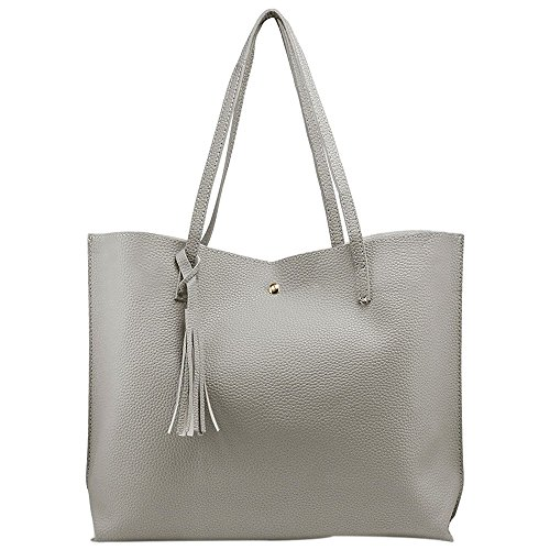 SODIAL Damen Leder Handtasche Schultertasche Damen Messenger Tasche Umhaengetasche, Schwarz Grau
