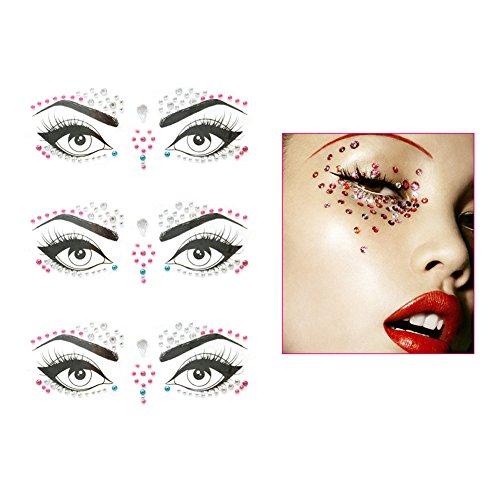 Yuccer Gesicht Edelsteine Aufkleber, Strass Temporäre Tattoos Gesicht Juwelen Sticker Kristall Körper Tattoos für Rave Festival Tränen Tropfen Aufkleber (3 Sets, mehrfarbig) - Tattoos Juwelen