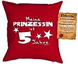 Geschenk für Kinder Kissen mit Füllung und Urkunde Meine Prinzessin ist 5 Jahre Kindergeburtstag für Mädls 5 jähriges Kind für Kids