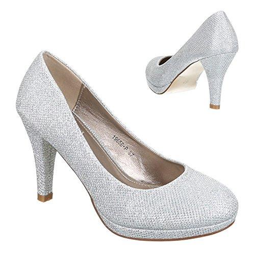 Ital-Design, Scarpe col tacco donna Argento (argento)