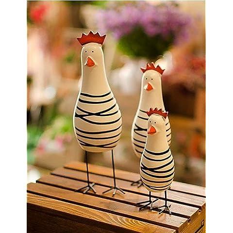 LBLI il Nordic registro della famiglia di pollo 3 set regalo di giorno artigianato dipinti manuale scultura manufatti per l'arredamento casa di JIAJU-YONGPING #2269