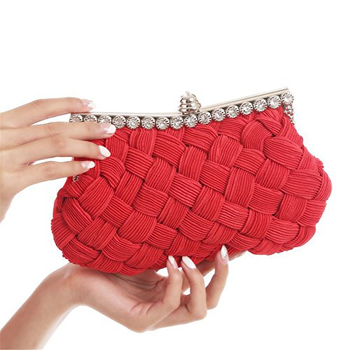 ERGEOB® Donna Clutch sacchetto di sera borsetta Clutch piccola rasotaschino Banchetto taschino matrimonio taschino sacchetto tessuto rosso