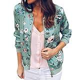OIKAY Damen Bomberjacke Casual Mantel Outwear Damen Retro Floral Reißverschluss bis Tops
