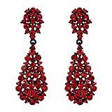 TENYE Damen österreichischen Kristall Art Deco Vintage Stil Dangle Pierced Ohrringe rot schwarz-Ton