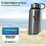 Trinkflasche ACTIVE FLASK von BeMaxx Fitness + 3 Trinkverschlüsse – Vakuum-isolierte Edelstahl Thermosflasche | BPA frei - 1l & 0,5l | Wasserflasche für Büro, Sport, Fahrrad, Outdoor – Kaffee & Tee (Classic Stainless | 950ml, 950ml) -