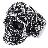KONOV Joyería Anillo de hombre, Calavera Cráneo Tribal Gótico Biker, Acero inoxidable, Color negro plata - Talla 17 (con bolsa de regalo)