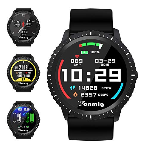 smartwatch, yonmig orologio da fitness con schermo grande da 1.22 pollici sport watch cardiofrequenzimetro da polso fitness tracker uomo donna bambini impermeabile ip68 pedometro per ios e android