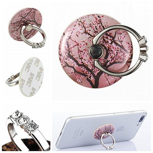Preisvergleich Produktbild Handyhalterung Handy Ring, Alfort 360° Kristall Griff Halterung Ständer Handy Ring für iPhone, Samsung, Sony, Huawei und Alle anderen Telefone, Tabletten (Kirschbaum)