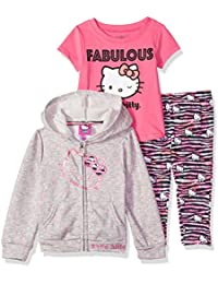 18ef221a8 Hello Kitty Baby Girls 3 Piece Zip Up Hoodie Legging Set with T-Shirt,
