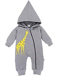 Bebone Baby Jungen Mädchen Tier Giraffe baumwollener Strampler