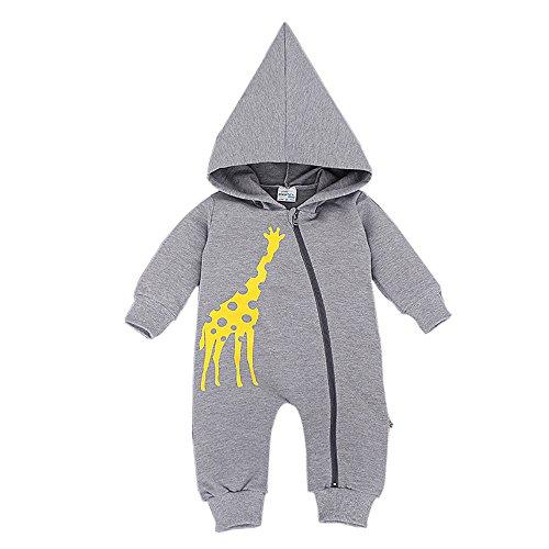 Bebone Baby Overall Strampler Jungen Mädchen Kleidung Neugeborenen Anzug (18-24 Monate, Grau)