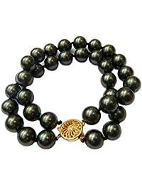Schmuckwilly Muschelkernperlen Perlenarmband Perlen - Muschelkernperlen Armband 2-reihig blau-schwarz Hochwertige mb0050