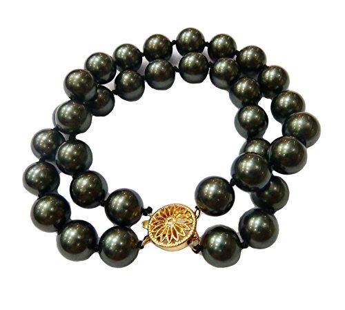 Schmuckwilly Muschelkernperlen Perlenarmband Perlen Armband - MuschelkernPerlen Armband 2-reihig blau-schwarz Hochwertige 20cm mb2050-20 (12mm)