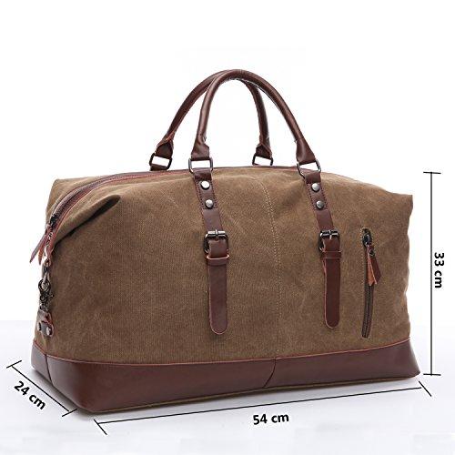 Limirror vintage Canvas Reisetasche Sporttasche weekender Tasche für Damen und Herren mit der Großen Kapazität (Grau) Kaffe
