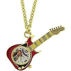 Disney Hannah Montana Stainless Steel Red Guitar Pendant Watch