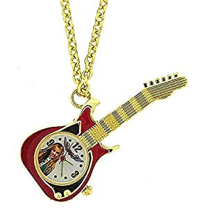 Disney Hannah Montana Stainless Steel Red Guitar Pendant Watch