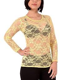 Damen Long Shirt mit Spitze T-Shirt Hemd Tunika Kleid Mini Rock BH Bluse ta5