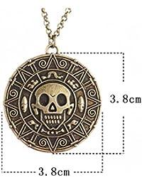 001d1d59656e Collar con colgante de calavera de oro azteca o oro antiguo bronce de  Piratas del