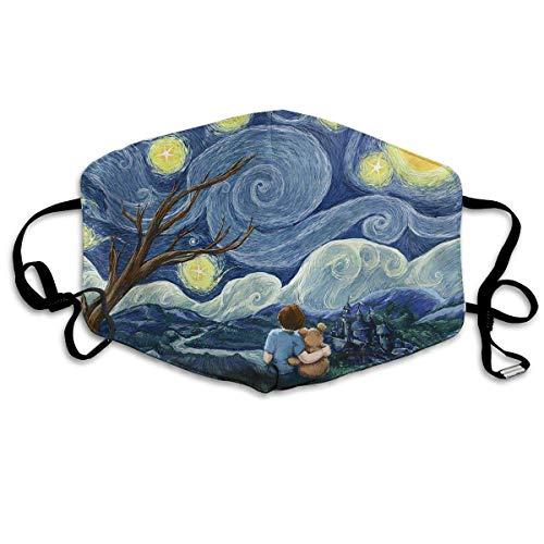 Nicegift Wiederverwendbare Gesichtsmaske - Warm Reirator, kleine Kinder unter Mond, Ohrschlaufen-Maske