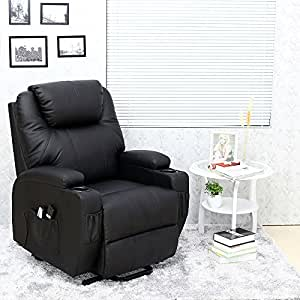 CINEMO ELECRTIC RISE RECLINER LEATHER MASSEAGE HEAT ARMCHAIR SOFA LOUNGE CHAIR (Black)