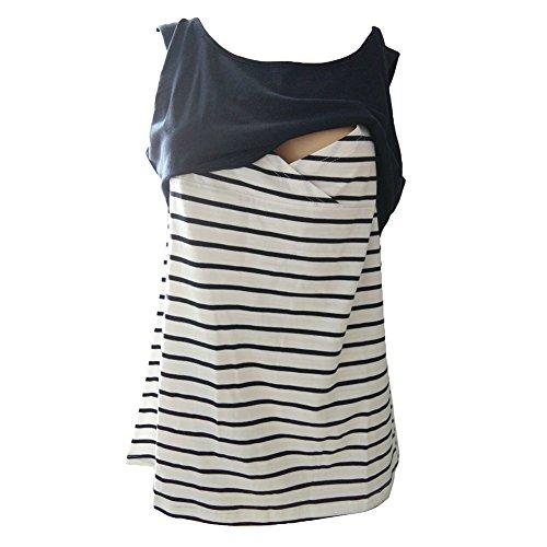 Meedot Schwangerschaft Mutterschaft Kleidung Mutterschaft Tops T-Shirt Stillweste Marine S (Tank-top Mutterschaft)