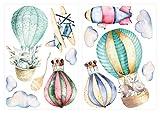 Wandtattoo Kinderzimmer Deko Aquarell Wandtattoo Heißluftballon Tiere Wolken