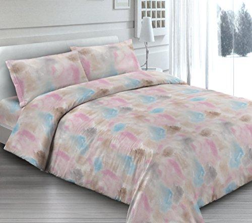 Smartsupershop Housse de Couette avec taies d'oreiller pour lit - Fantaisie de Couleurs - Y Compris sous avec Coins en coordonné - en Coton Fabriqué en Italie