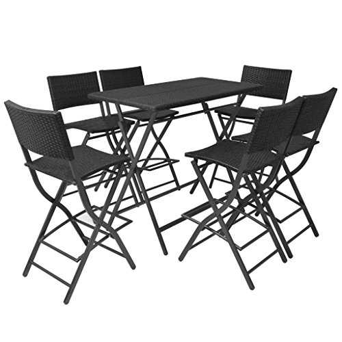Festnight Gartenbar Barset 7-Teilig 6X Barstuhl + 1x Bartisch 120x60x101cm Polyrattan Schwarz