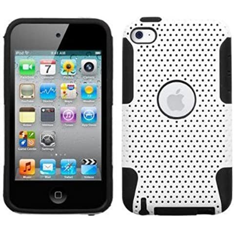 SODIAL(R) Funda Protectora para Apple iPod Touch Cuarta Generacion - Diseno Hibrido Blanco/Negro