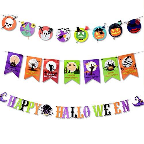 (Umiwe 3 PCs Halloween Grusel Deko Party Krepp-Girlanden Party Deko Set | Girlande Kürbis, Spinne, Totenkopf, Fledermaus -3M)