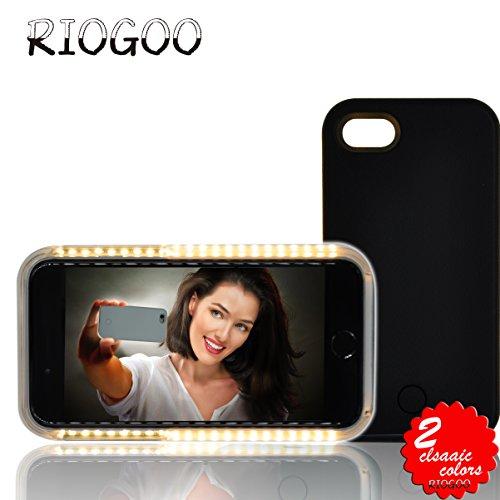 Kontrolle Aufhellung (Selfie Licht Hülle, RIOGOO Telefon Selfie Hülle mit Facetime - Led Dimmbare Beleuchtet Handyhülle Selfie für iPhone 7 (Schwarz))