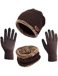 Mattelsen Gorras Invierno con Bufanda y Guantes Táctiles Antideslizante 3  en 1 de Punto Sombreros para Mujeres y… 2e792b52290