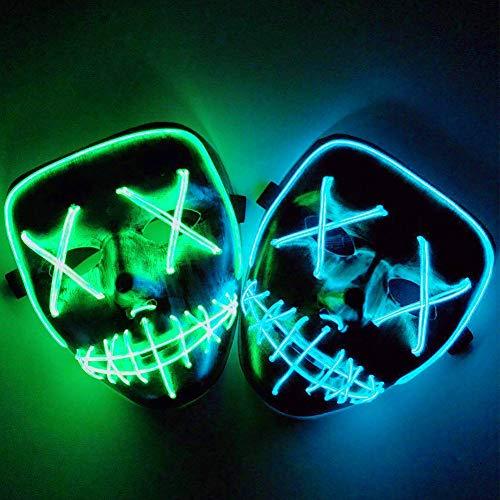 Kostüm Körper Ein Voller Stück - zhaokai Karneval Maske Grimasse Maske LED Purge Maske Kostüm EL LED Draht Halloween Maske Tod Grimasse Masken Masquerade(2 Stücke)