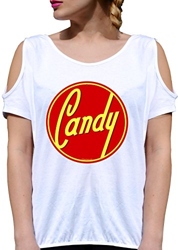 T SHIRT JODE GIRL GGG27 Z0457 CANDY SYMBOL LOGO RED ROUND TASTY FUN FASHION COOL BIANCA - WHITE