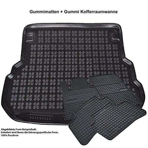AME Prime Set - Auto-Gummimatten Fußmatten, passgenau und Geruch-vermindert + Kofferraum-Wanne, Schutzmatte für den Laderaum 547136et+230927KW