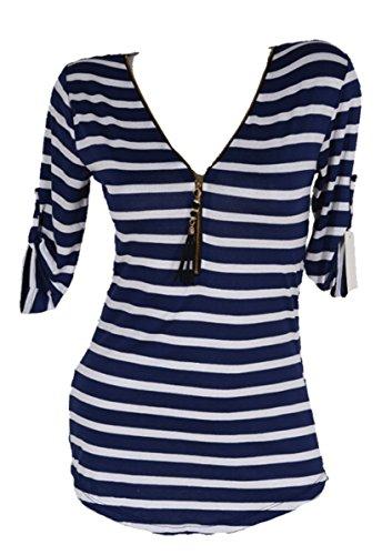 Sommer Spitze Tunika Shirt Kleid Maritim gestreift 36 38 40 42 S M L Blau Weiß
