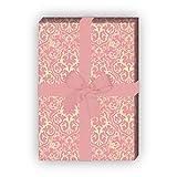 Klassisches Retro Geschenkpapier Set (4 Bogen) mit grafischem Vintage Muster, rosa, für tolle Geschenk Verpackung und Überraschungen 32 x 48cm