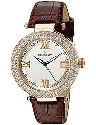 Peugeot - Reloj de pulsera de mujer, diseño de cristal dorado rosado, piel, color marrón