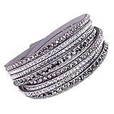 Braccialetto A più Strati Ragazze Intrecciato Polsino Dell'Involucro Bangle Braccialetti con Perline di Cristallo Gioielli per Le Donne