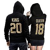 Photo de Hibote Couples Hommes Femme Sweat à Capuche King Queen Impression Manches Longues Hooded Sweatshirt Pull Hoodie Tops par Hibote
